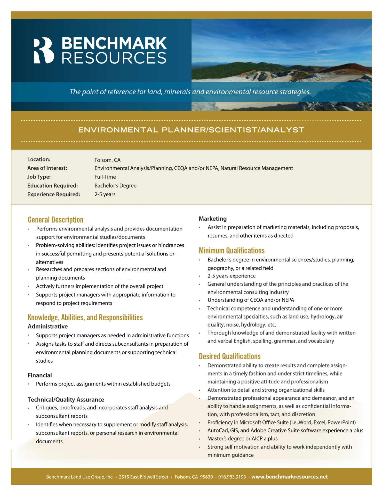 Career Opportunities | Benchmark Resources Environmental